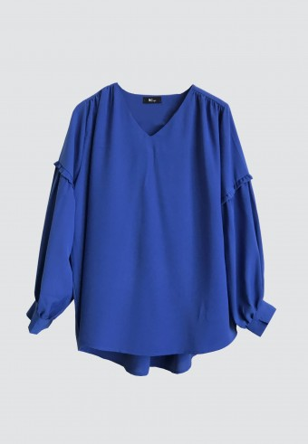 MINI SHOULDER RUFFLE TOP IN BLUE 15