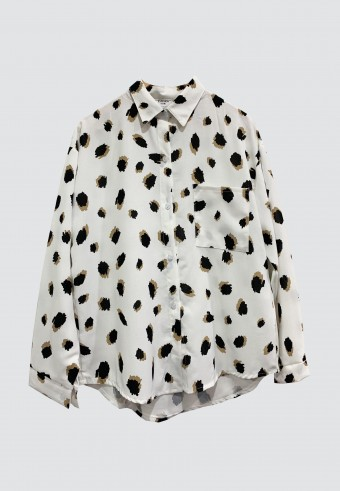 LEOPARD PRINTED TOP IN WHITE