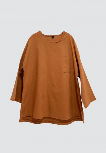 LINEN TOP IN DARK PEACH