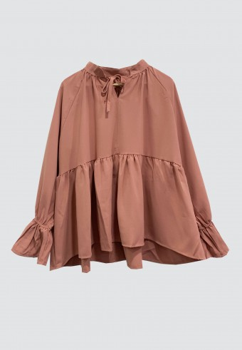 PLAIN RUFFLE TOP IN DUSTY PINK