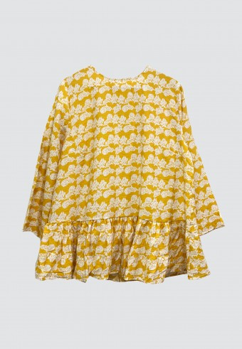 PRINTED HEMMED RUFFLE TOP IN YELLOW
