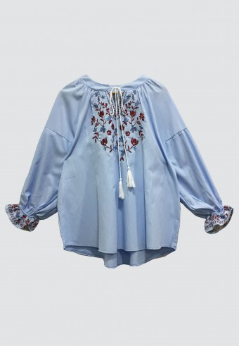 BOHO DROP SHOULDER TOP IN BABY BLUE