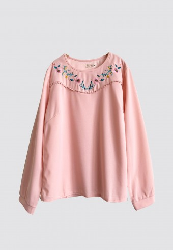 EMBROIDERY CUTE TOP IN PINK