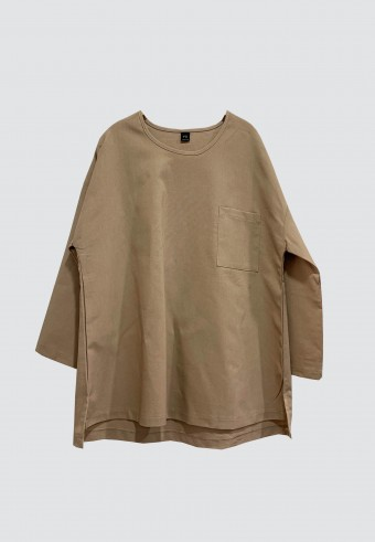LINEN TOP IN LIGHT BROWN