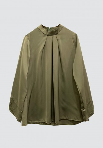 COLLAR SATIN TOP IN BURNT OLIVE