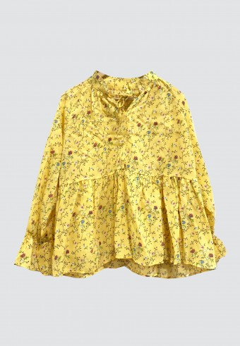 FLOWER RUFFLE TOP IN YELLOW