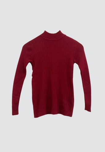 SLIM KNITTED TOP IN MAROON