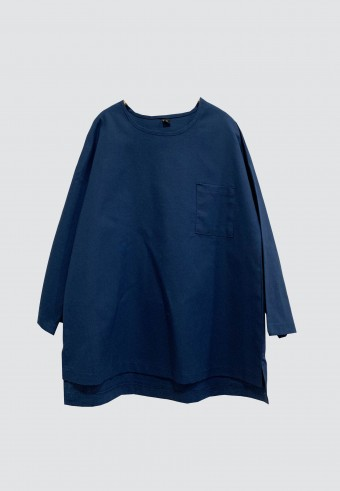 LINEN TOP IN NAVY BLUE