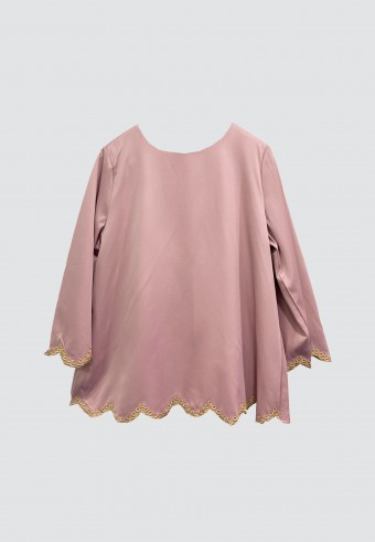 BORDER LINE TOP IN DUSTY PINK