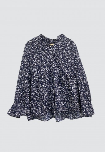 FLORAL RUFFLE TOP IN NAVY BLUE