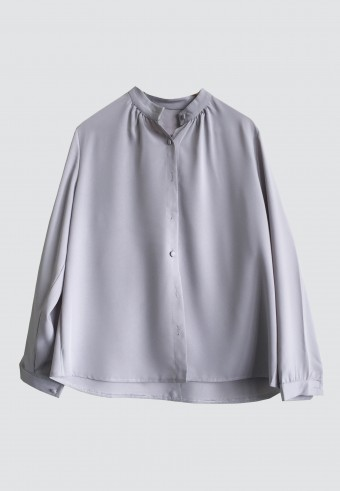 FRONT BUTTON TOP IN GREY (MANDARIN COLLAR) 3
