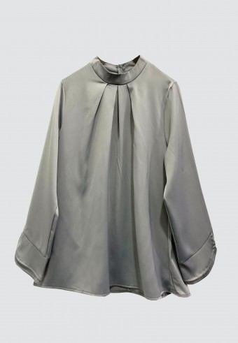 COLLAR SATIN TOP IN GREY