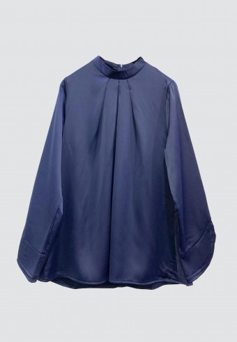 COLLAR SATIN TOP IN NAVY BLUE