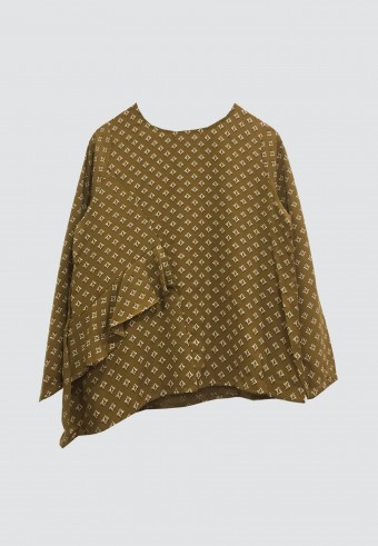 SMALL PRINTED TOPS IN BROWN