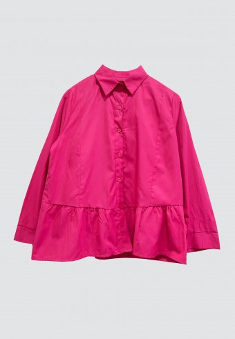 BUTTON HEMMED RUFFLE TOP IN PINK