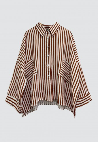 DOUBLE POCKET STRIPE TOP IN BROWN
