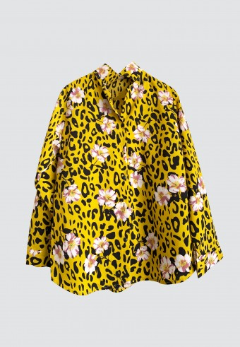 FLORAL LEOPARD TOP IN YELLOW (with minor defect)