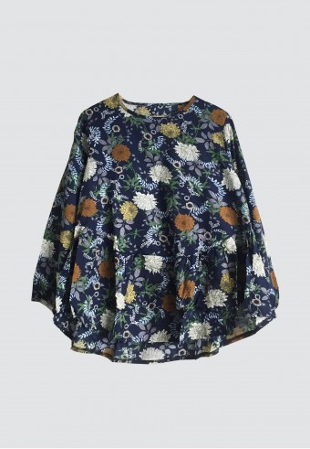 COTTON FLORAL HEM RUFFLE TOP IN DARK BLUE 152