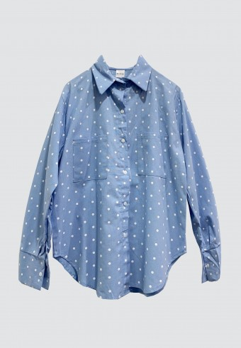 DOUBLE POCKET POLKA TOP IN BABY BLUE