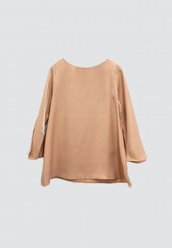 PLAIN SHIMMERY TOP IN PEACH