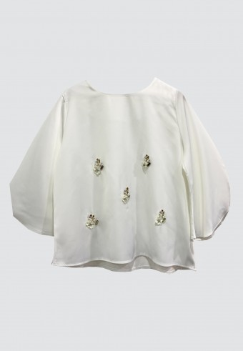FLOWER BEADS TOP IN WHITE