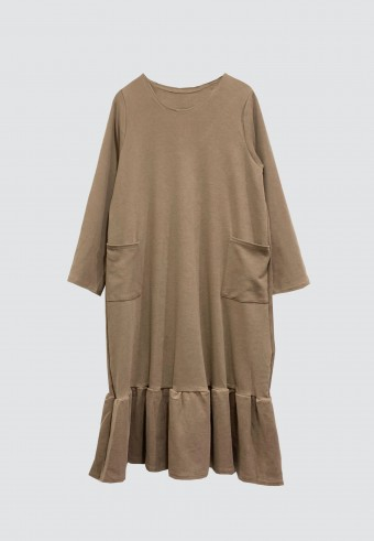 MIDI GATHERED POCKET TOP IN BROWN