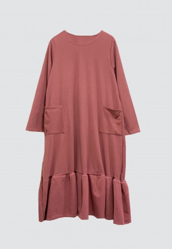 MIDI GATHERED POCKET TOP IN DUSTY PINK
