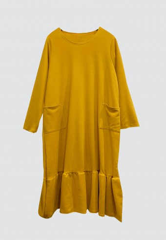 MIDI GATHERED POCKET TOP IN MUSTARD
