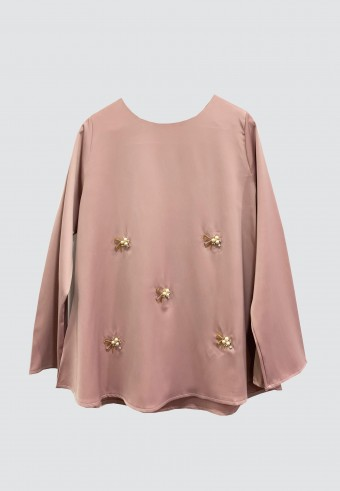 LOOSE BEADS TOP IN DUSTY PINK