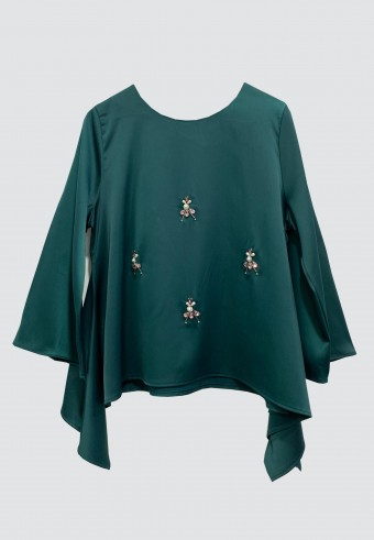 FLOWY BEADS TOP IN GREEN