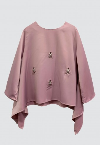 FLOWY BEADS TOP IN DUSTY PINK