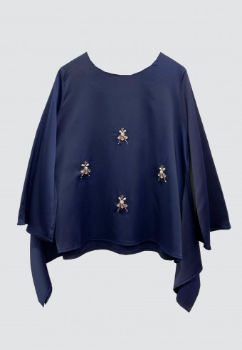 FLOWY BEADS TOP IN DARK BLUE