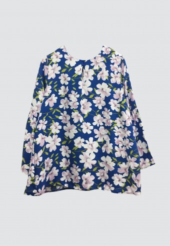 FLOWER COTTON TOP IN DARK BLUE