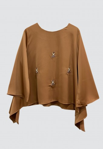 FLOWY BEADS TOP IN BROWN