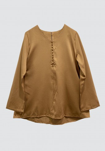 FRONT BUTTON TOP IN BROWN