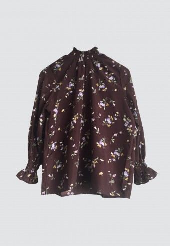 VINTAGE FLORAL HI-NECK TOP IN DARK BROWN 142