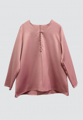 FRONT BUTTON TOP IN DUSTY PINK