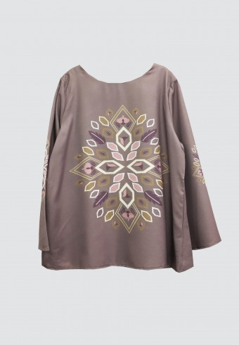 LEAF BOXY TOP IN DUSTY PURPLE