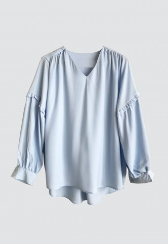 MINI SHOULDER RUFFLE TOP IN BABY BLUE 154