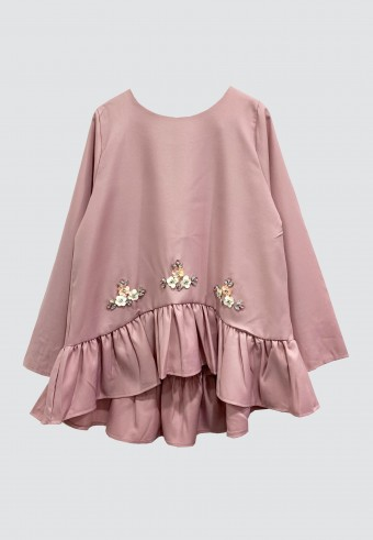 RUFFLE BEADS TOP IN DUSTY PINK