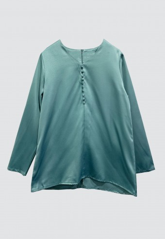 FRONT BUTTON TOP IN TURQUOISE