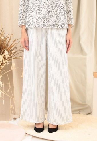 STRIPE PALAZZO PANT IN WHITE
