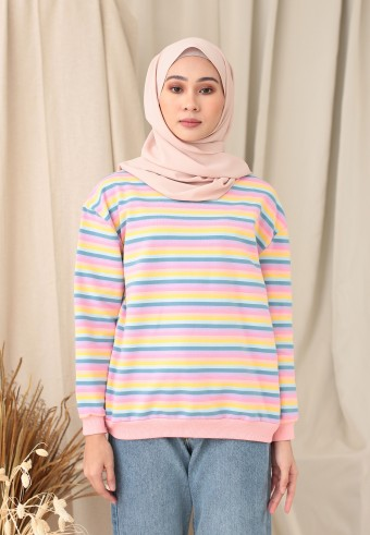 SMALL STRIPE RAINBOW TOP IN WARM PINK