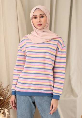 SMALL STRIPE RAINBOW TOP IN WARM BLUE