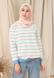 SMALL STRIPE RAINBOW TOP IN PASTEL BLUE