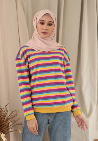 SMALL STRIPE RAINBOW TOP IN WARM YELLOW
