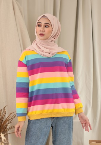 BIG STRIPE RAINBOW TOP IN WARM YELLOW