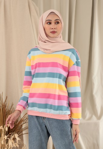 BIG STRIPE RAINBOW TOP IN WARM PINK