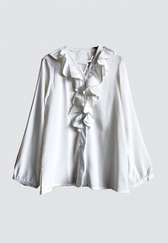FRONT RUFFLE V NECK IN WHITE
