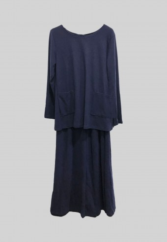WOOL TOP AND SKIRT SET IN NAVY BLUE